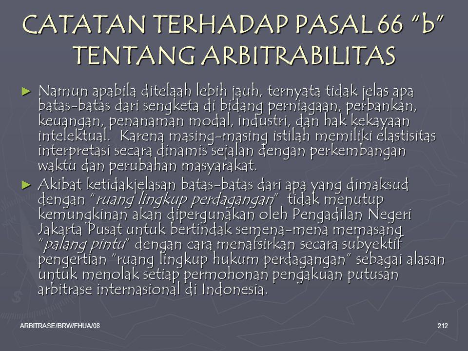 CATATAN TERHADAP PASAL 66 b TENTANG ARBITRABILITAS