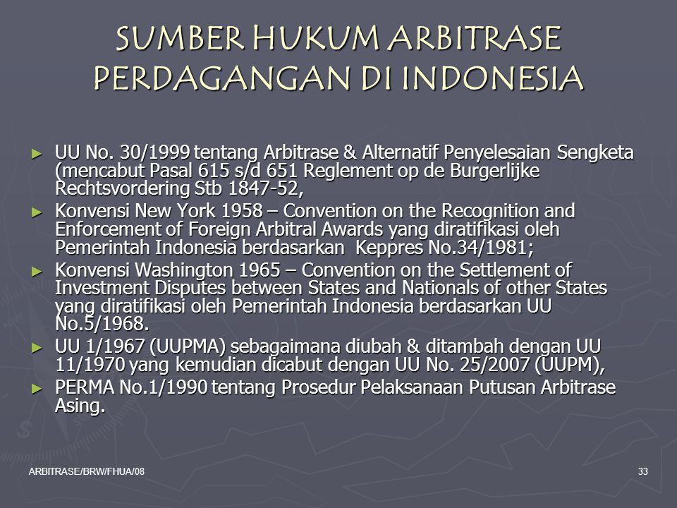 SUMBER HUKUM ARBITRASE PERDAGANGAN DI INDONESIA