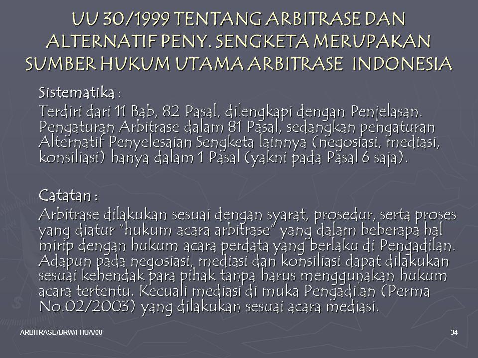 UU 30/1999 TENTANG ARBITRASE DAN ALTERNATIF PENY