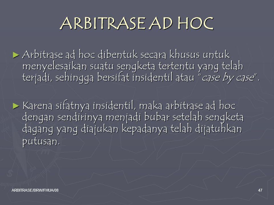 ARBITRASE AD HOC