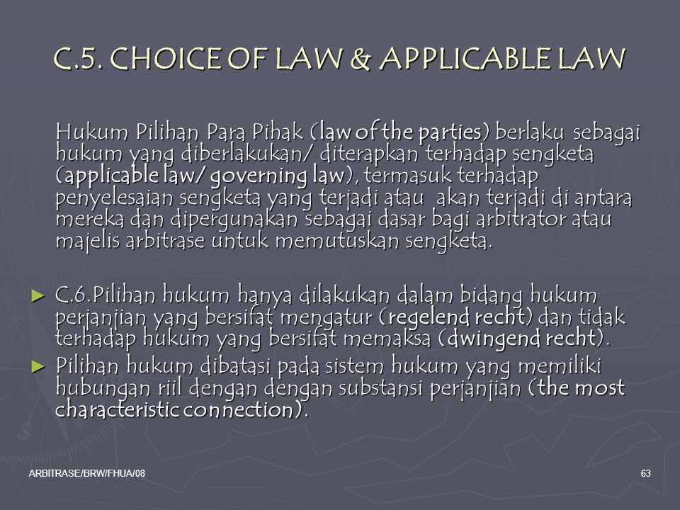 C.5. CHOICE OF LAW & APPLICABLE LAW