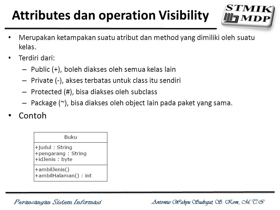 Attributes dan operation Visibility