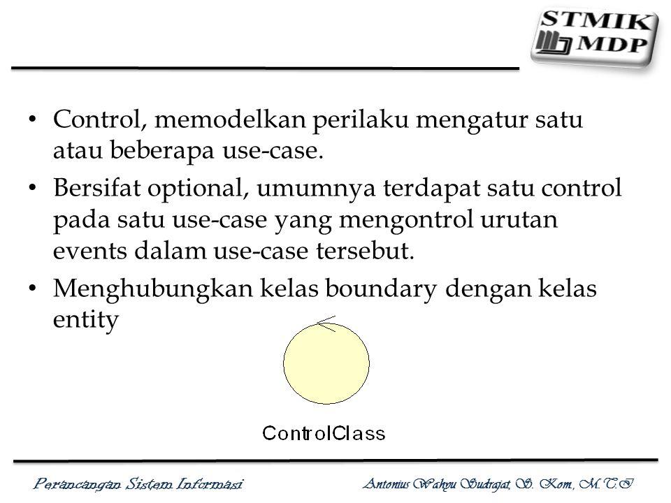 Control, memodelkan perilaku mengatur satu atau beberapa use-case.