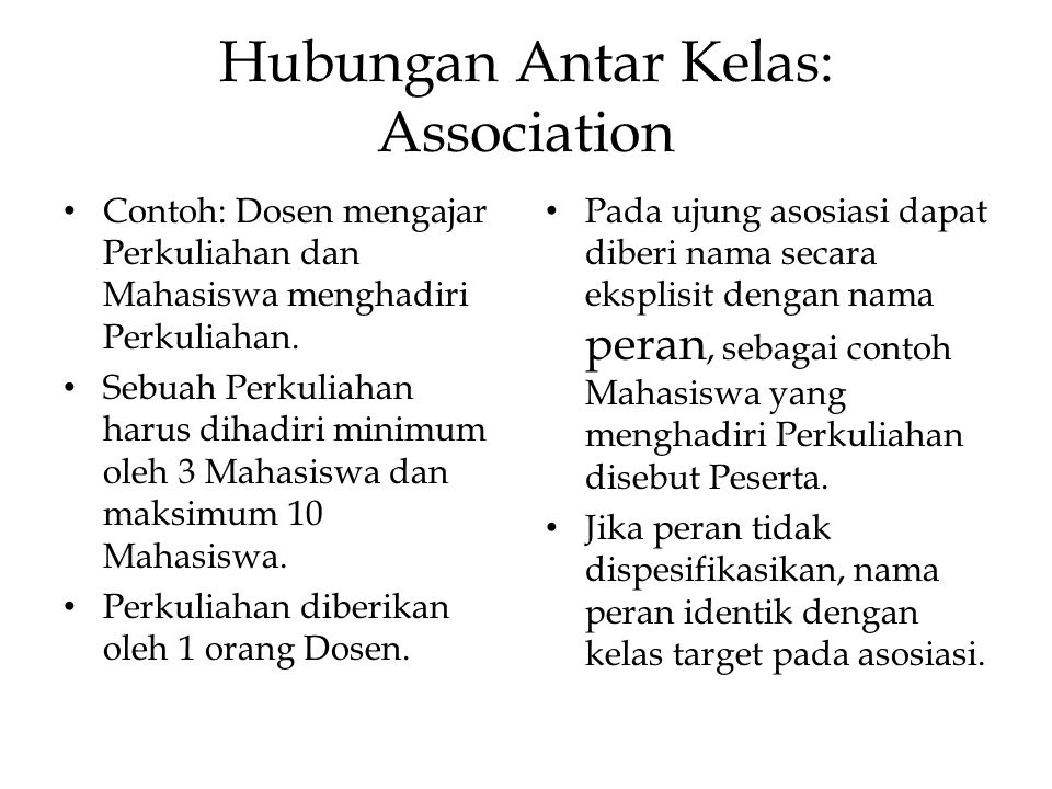 Hubungan Antar Kelas: Association