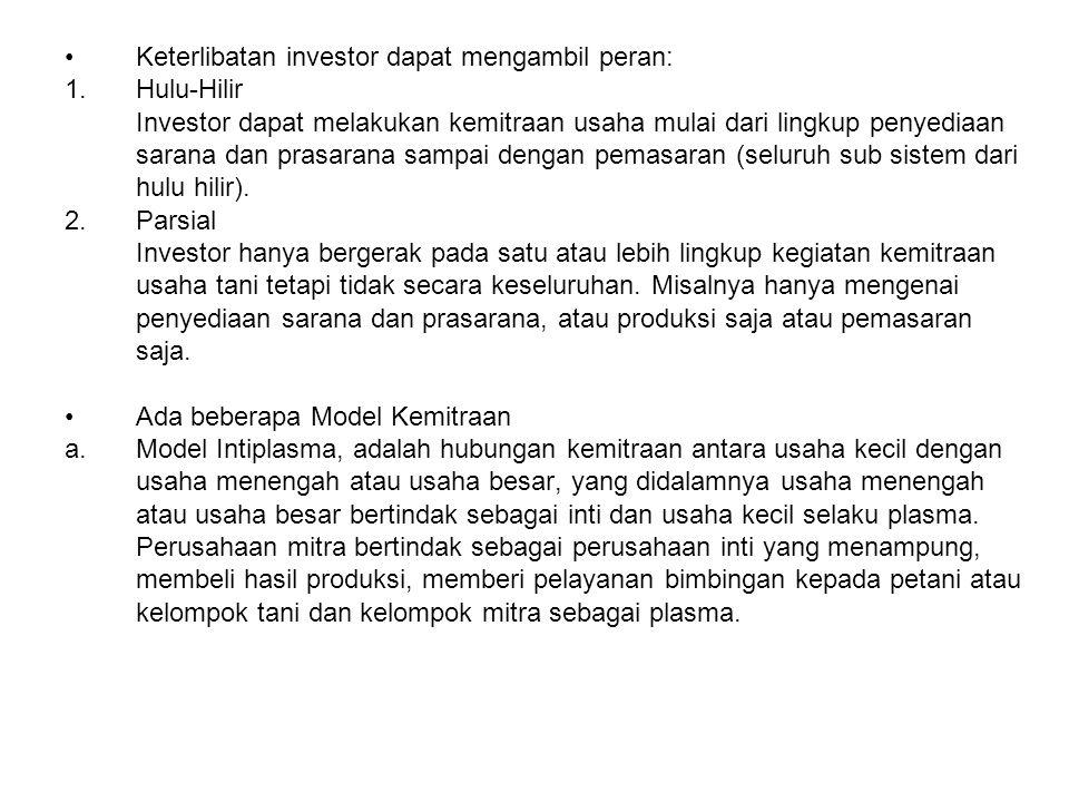 Keterlibatan investor dapat mengambil peran: