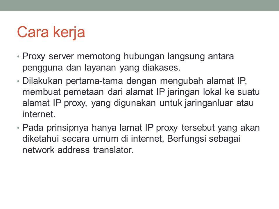 Cara kerja Proxy server memotong hubungan langsung antara pengguna dan layanan yang diakases.