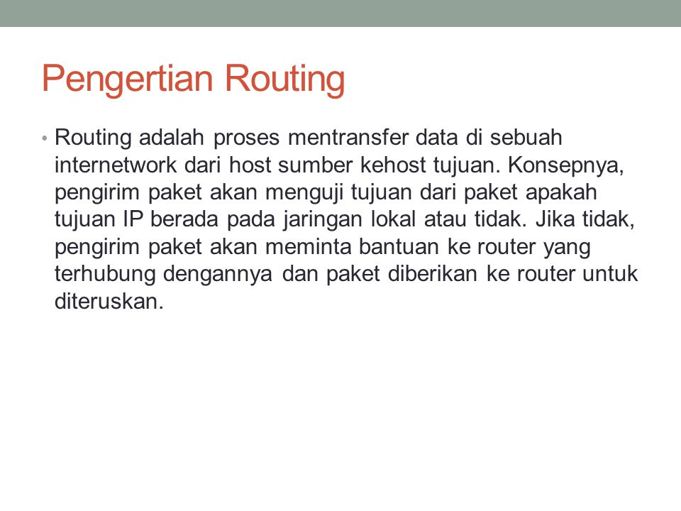 Pengertian Routing