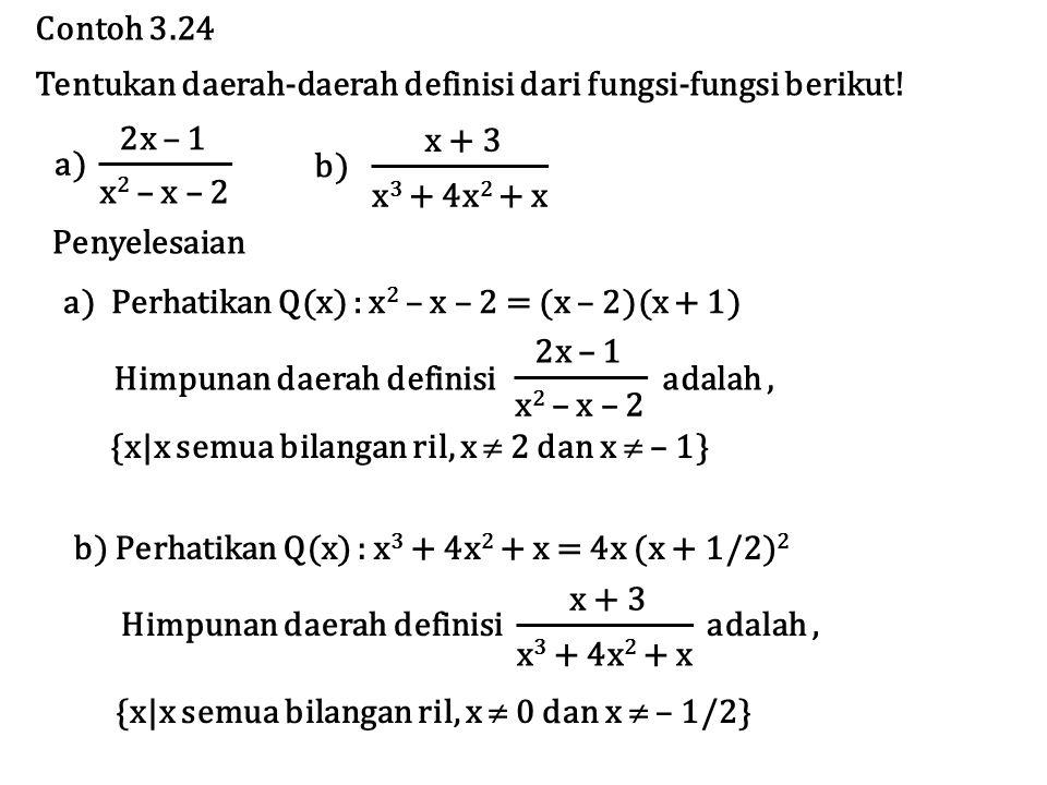 Contoh 3.24 Tentukan daerah-daerah definisi dari fungsi-fungsi berikut! 2x – 1. x2 – x – 2. a) x + 3.