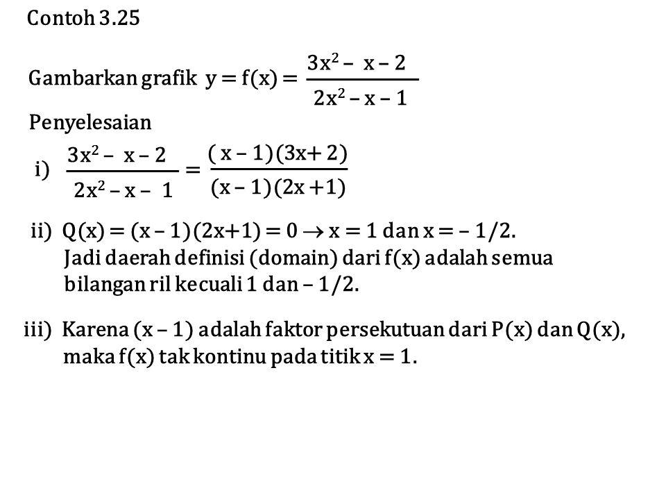 Contoh 3.25 Gambarkan grafik y = f(x) = 3x2 – x – 2. 2x2 – x – 1. Penyelesaian. 3x2 – x – 2.