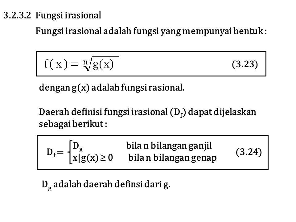 3.2.3.2 Fungsi irasional Fungsi irasional adalah fungsi yang mempunyai bentuk : (3.23) dengan g(x) adalah fungsi rasional.