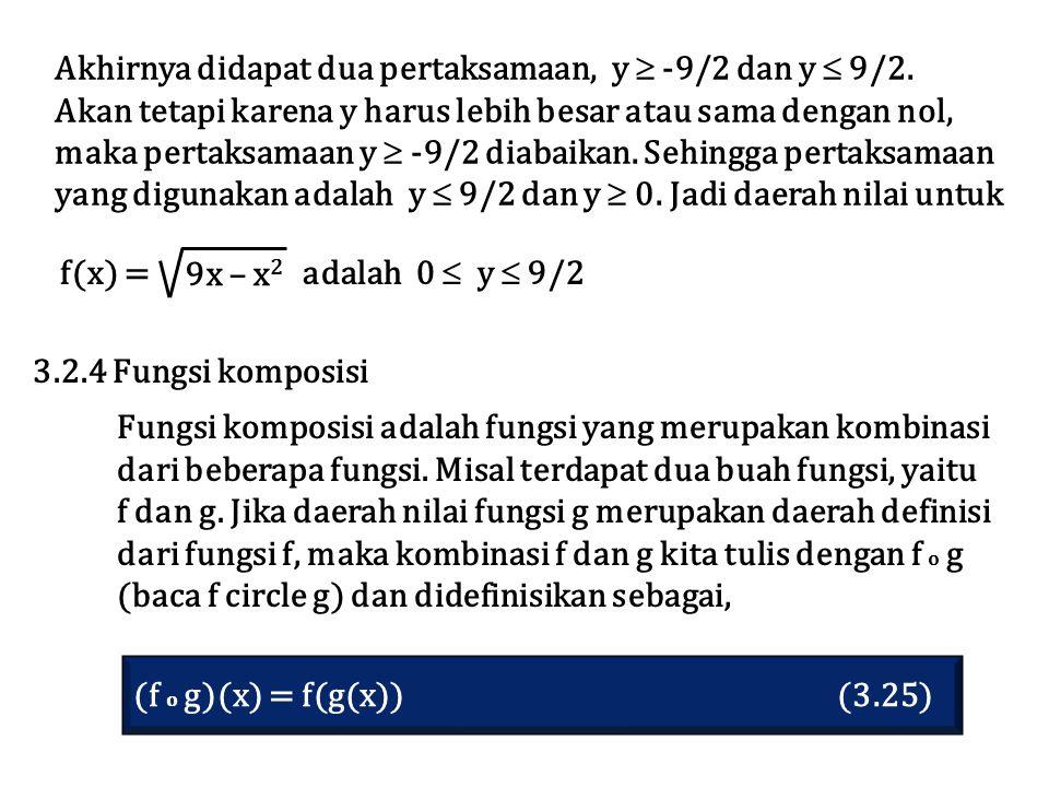 Akhirnya didapat dua pertaksamaan, y  -9/2 dan y  9/2.