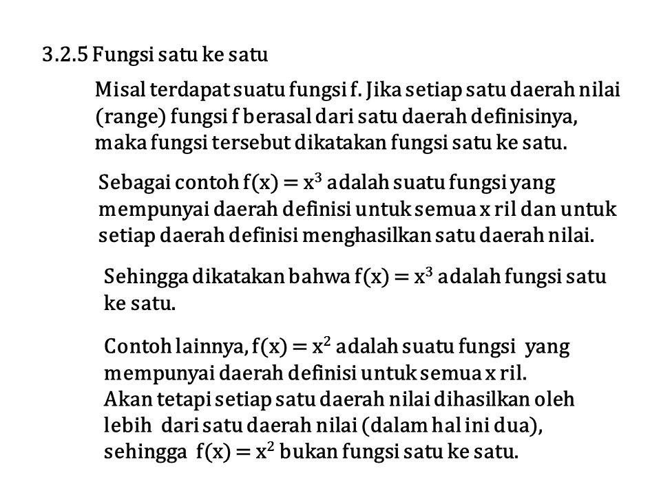 3.2.5 Fungsi satu ke satu Misal terdapat suatu fungsi f. Jika setiap satu daerah nilai. (range) fungsi f berasal dari satu daerah definisinya,