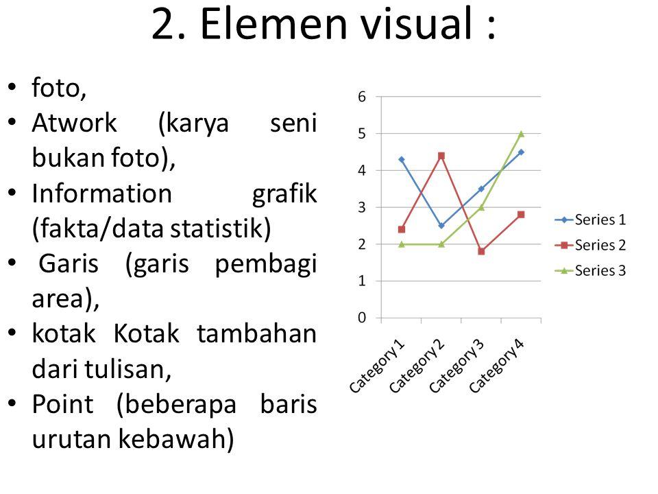 2. Elemen visual : foto, Atwork (karya seni bukan foto),