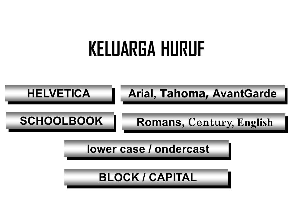 Arial, Tahoma, AvantGarde Romans, Century, English
