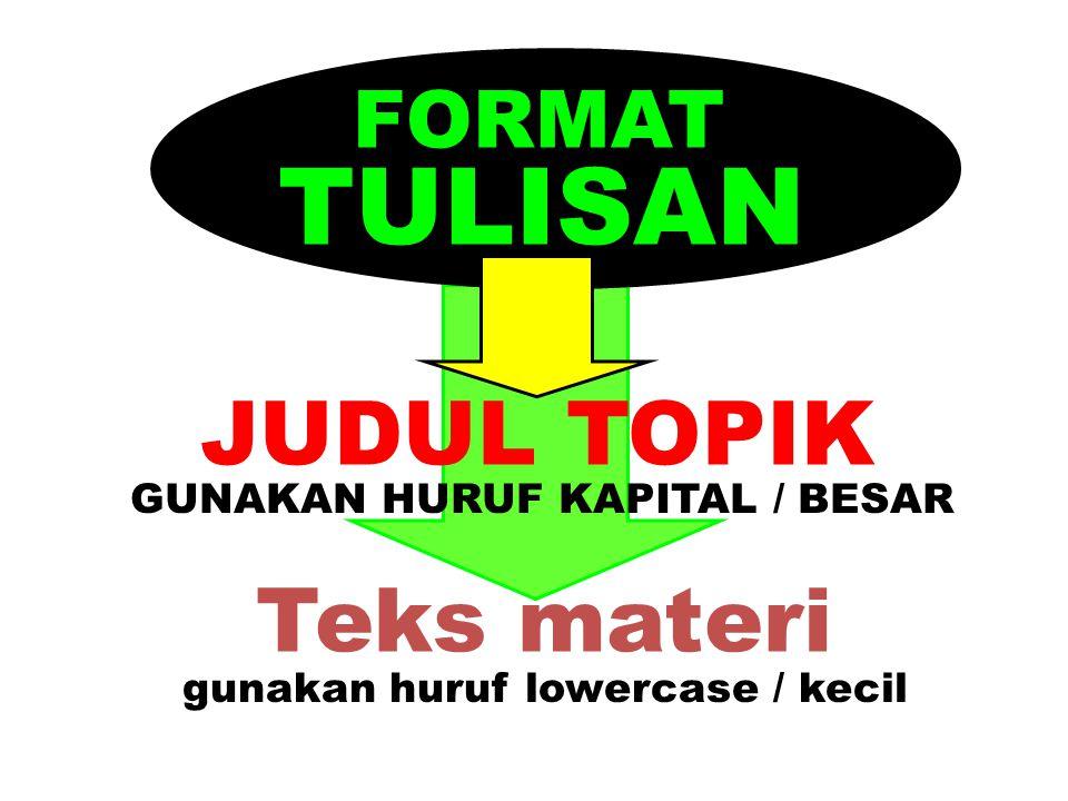 TULISAN JUDUL TOPIK Teks materi FORMAT GUNAKAN HURUF KAPITAL / BESAR