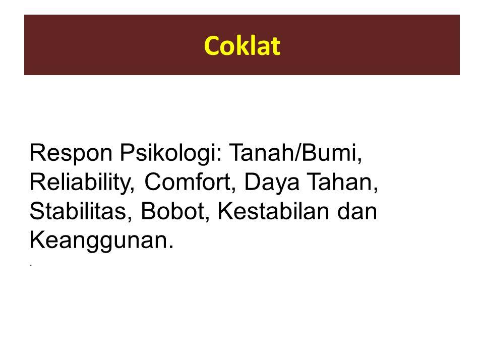 Coklat Respon Psikologi: Tanah/Bumi, Reliability, Comfort, Daya Tahan, Stabilitas, Bobot, Kestabilan dan Keanggunan. .