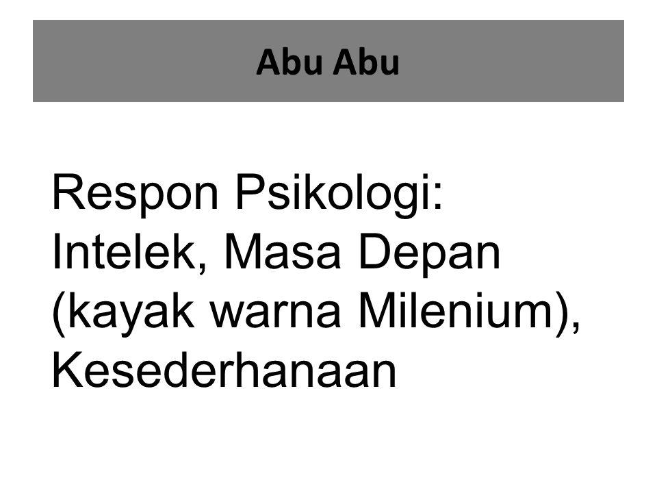 Abu Abu Respon Psikologi: Intelek, Masa Depan (kayak warna Milenium), Kesederhanaan