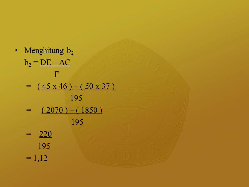 Menghitung b2 b2 = DE – AC. F. = ( 45 x 46 ) – ( 50 x 37 ) 195. = ( 2070 ) – ( 1850 ) = 220.