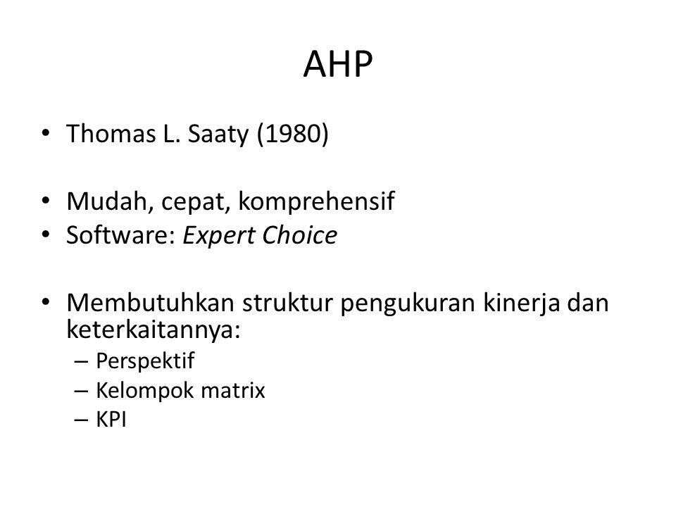 AHP Thomas L. Saaty (1980) Mudah, cepat, komprehensif
