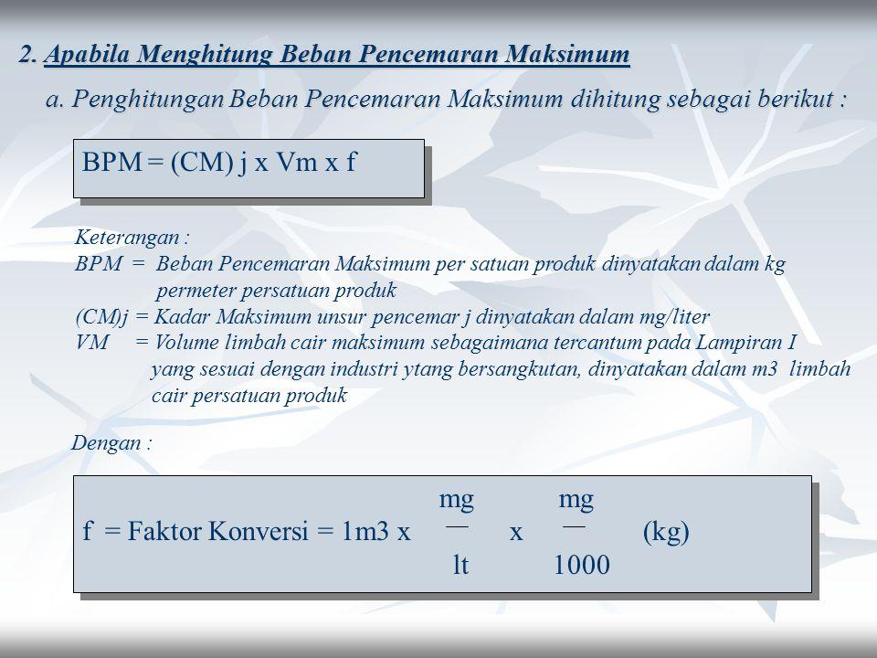 f = Faktor Konversi = 1m3 x x (kg) lt 1000
