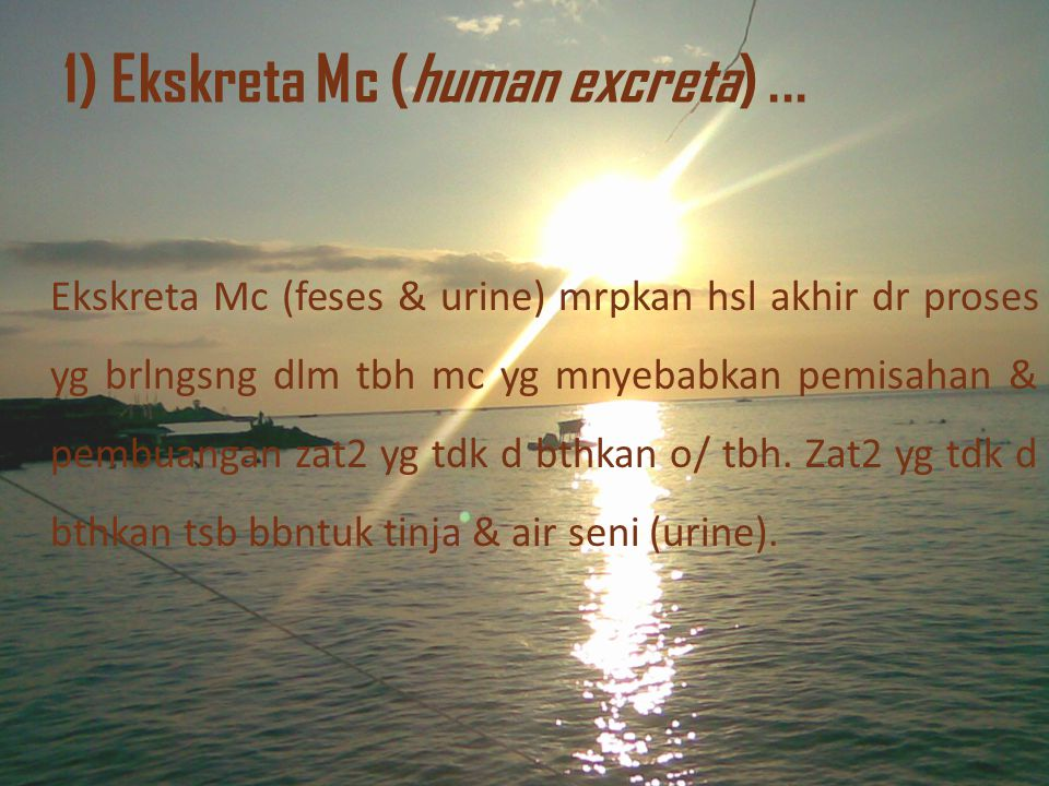 1) Ekskreta Mc (human excreta) ...
