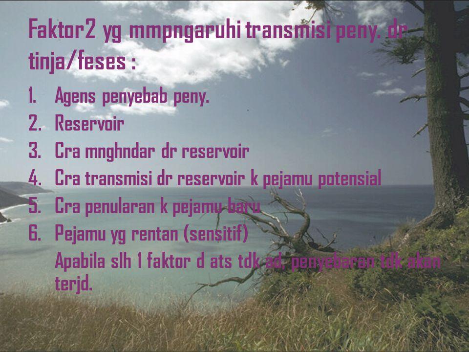 Faktor2 yg mmpngaruhi transmisi peny. dr tinja/feses :