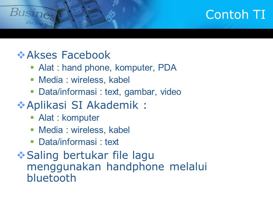 Contoh TI Akses Facebook Aplikasi SI Akademik :
