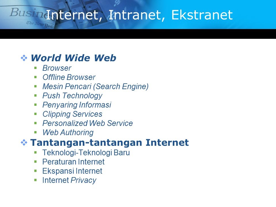 Internet, Intranet, Ekstranet