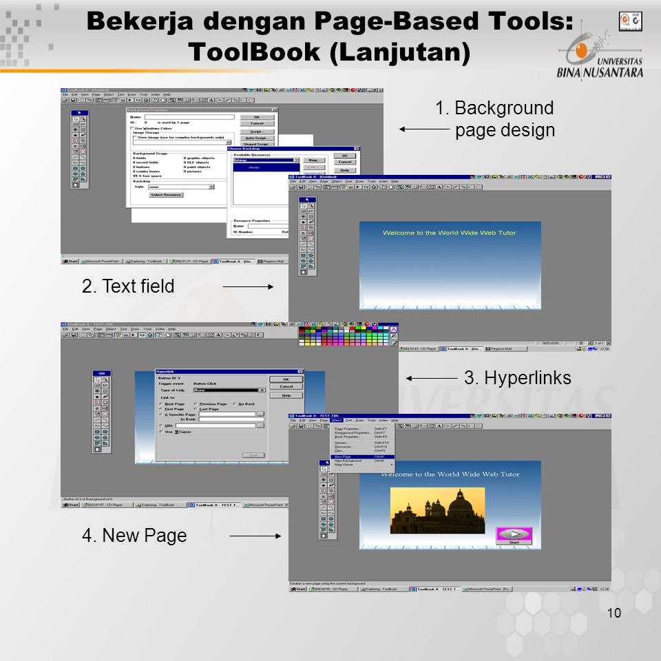 Bekerja dengan Page-Based Tools: ToolBook (Lanjutan)