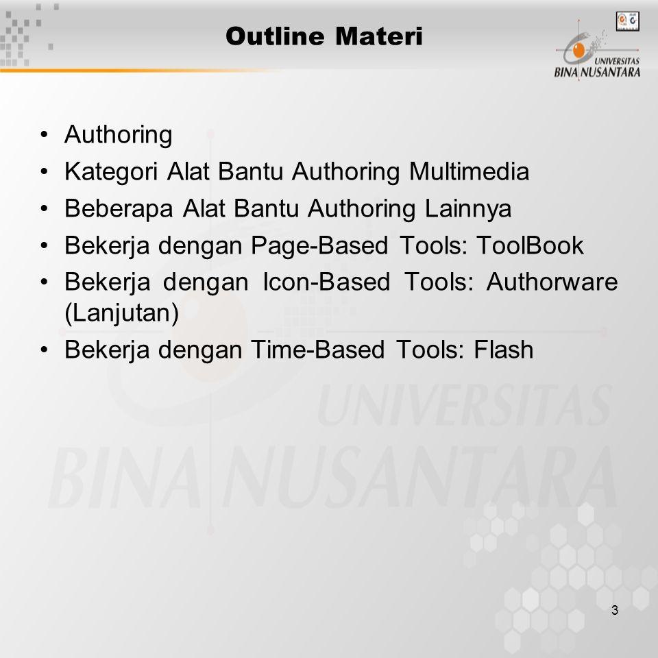 Outline Materi Authoring. Kategori Alat Bantu Authoring Multimedia. Beberapa Alat Bantu Authoring Lainnya.