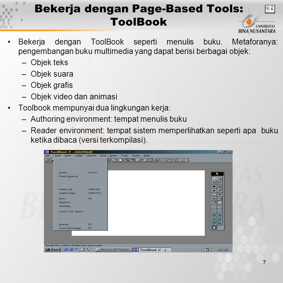 Bekerja dengan Page-Based Tools: ToolBook