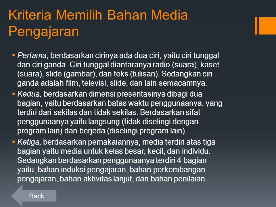 Kriteria Memilih Bahan Media Pengajaran