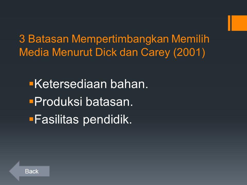 3 Batasan Mempertimbangkan Memilih Media Menurut Dick dan Carey (2001)