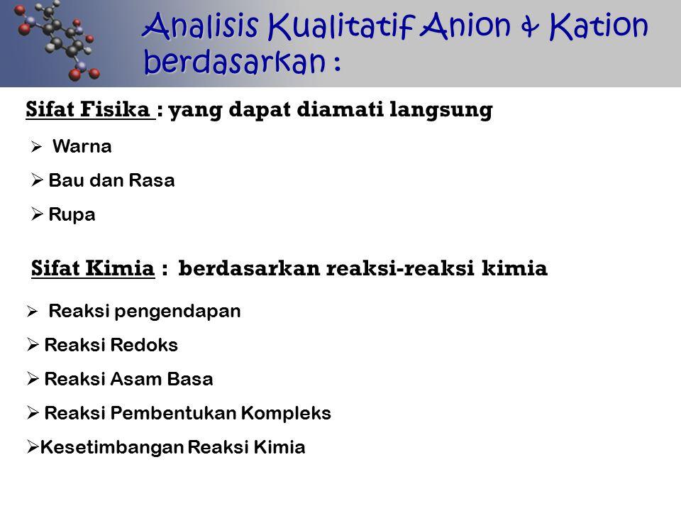 Analisis Kualitatif Anion & Kation berdasarkan :