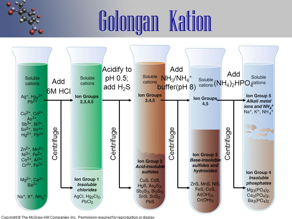 Golongan Kation Acidify to pH 0.5; add H2S Centrifuge