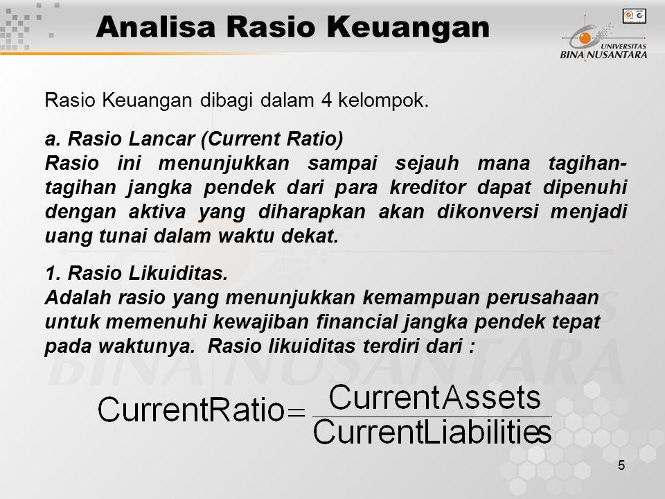 Analisa Rasio Keuangan
