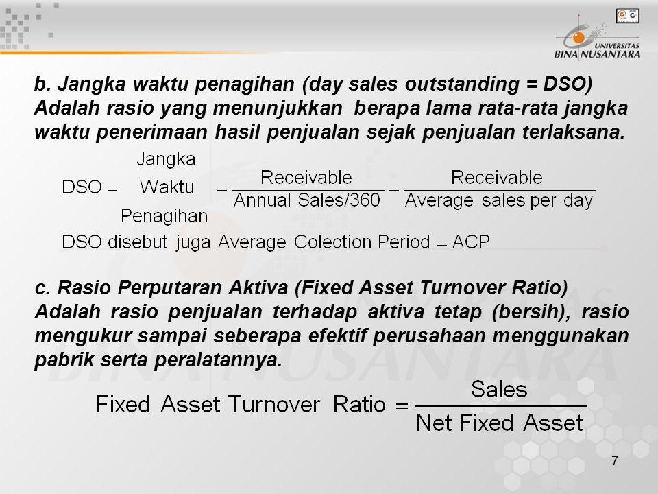 b. Jangka waktu penagihan (day sales outstanding = DSO)