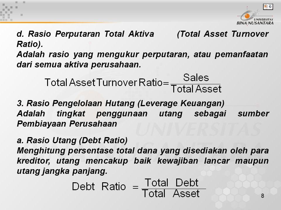 d. Rasio Perputaran Total Aktiva (Total Asset Turnover Ratio).