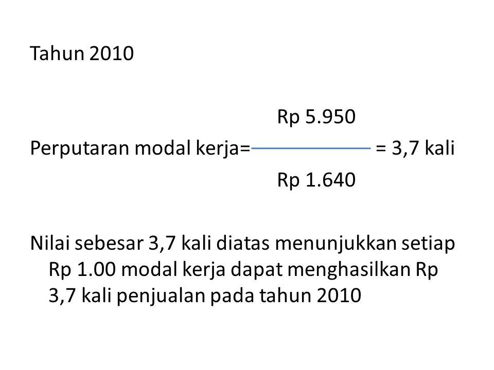 Tahun 2010 Rp 5. 950 Perputaran modal kerja= = 3,7 kali Rp 1