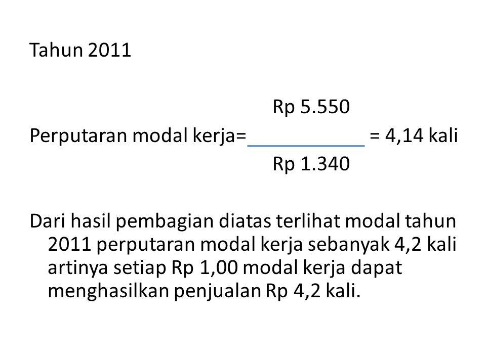 Tahun 2011 Rp 5. 550 Perputaran modal kerja= = 4,14 kali Rp 1