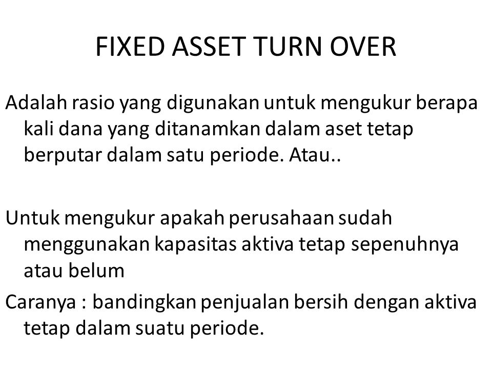 FIXED ASSET TURN OVER