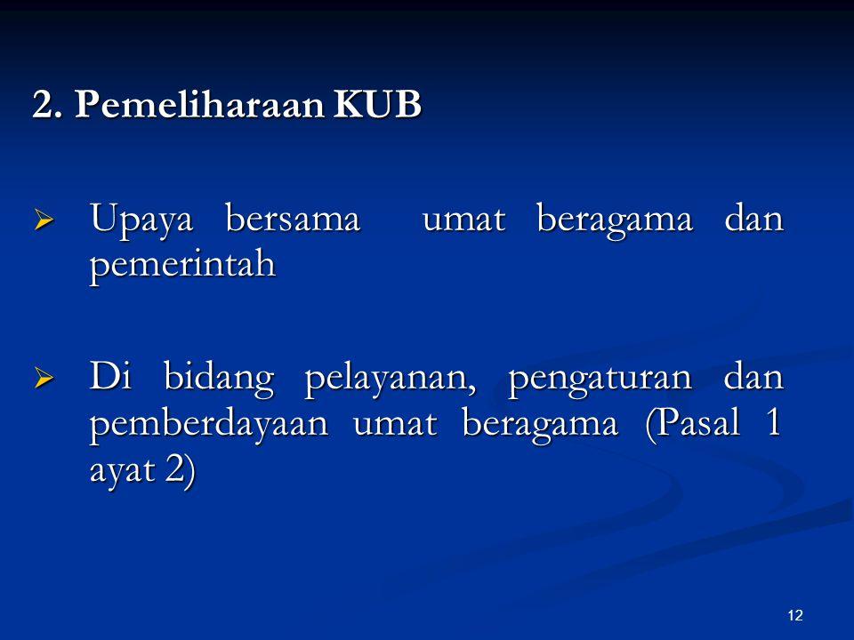 2. Pemeliharaan KUB Upaya bersama umat beragama dan pemerintah.