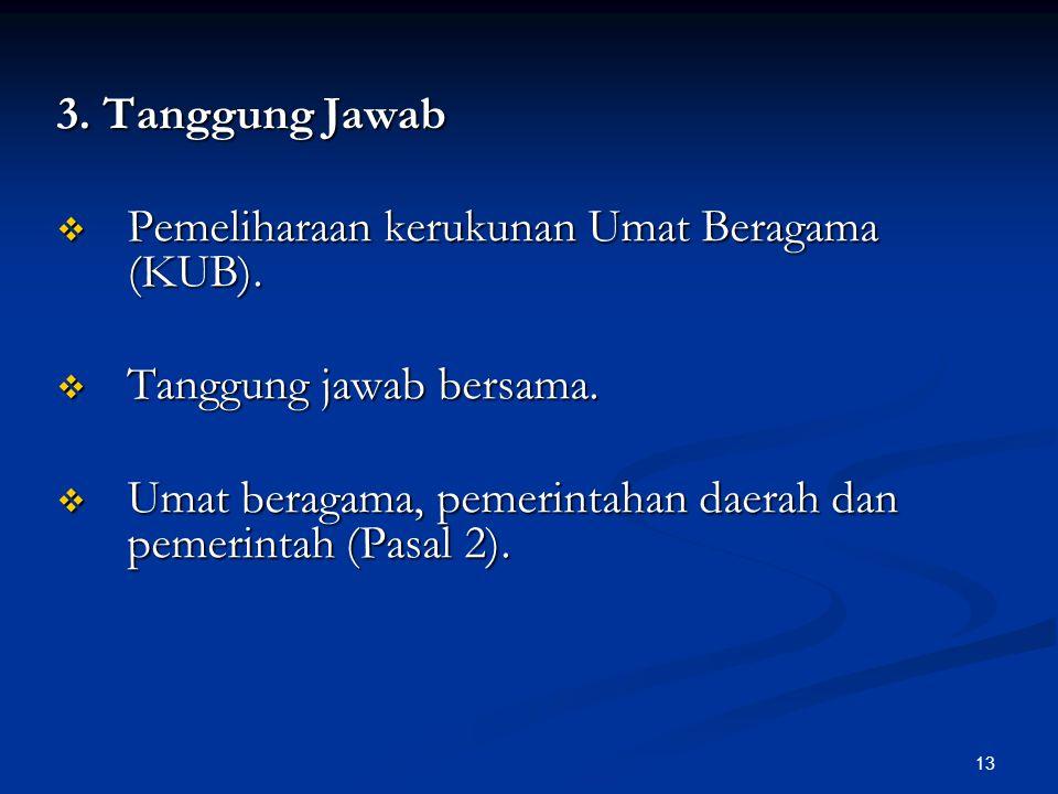 3. Tanggung Jawab Pemeliharaan kerukunan Umat Beragama (KUB).