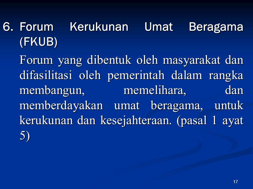 6. Forum Kerukunan Umat Beragama (FKUB)
