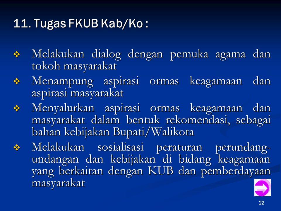 11. Tugas FKUB Kab/Ko : Melakukan dialog dengan pemuka agama dan tokoh masyarakat. Menampung aspirasi ormas keagamaan dan aspirasi masyarakat.