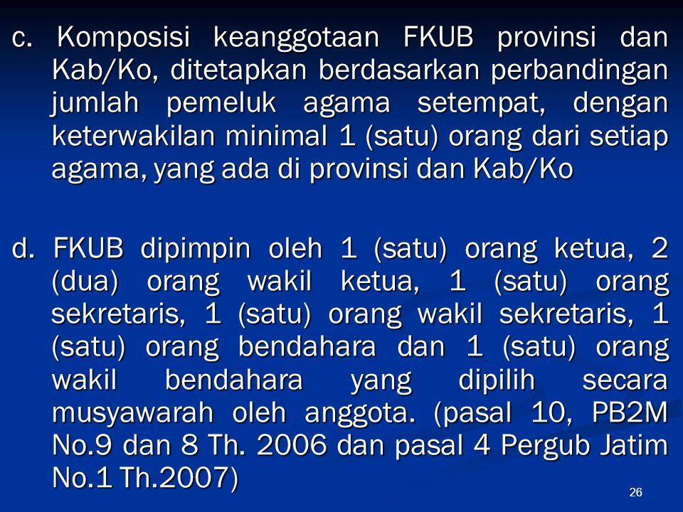 c. Komposisi keanggotaan FKUB provinsi dan Kab/Ko, ditetapkan berdasarkan perbandingan jumlah pemeluk agama setempat, dengan keterwakilan minimal 1 (satu) orang dari setiap agama, yang ada di provinsi dan Kab/Ko