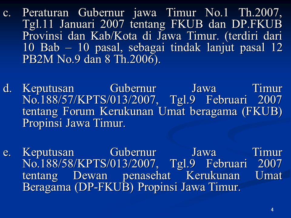 c. Peraturan Gubernur jawa Timur No. 1 Th. 2007, Tgl