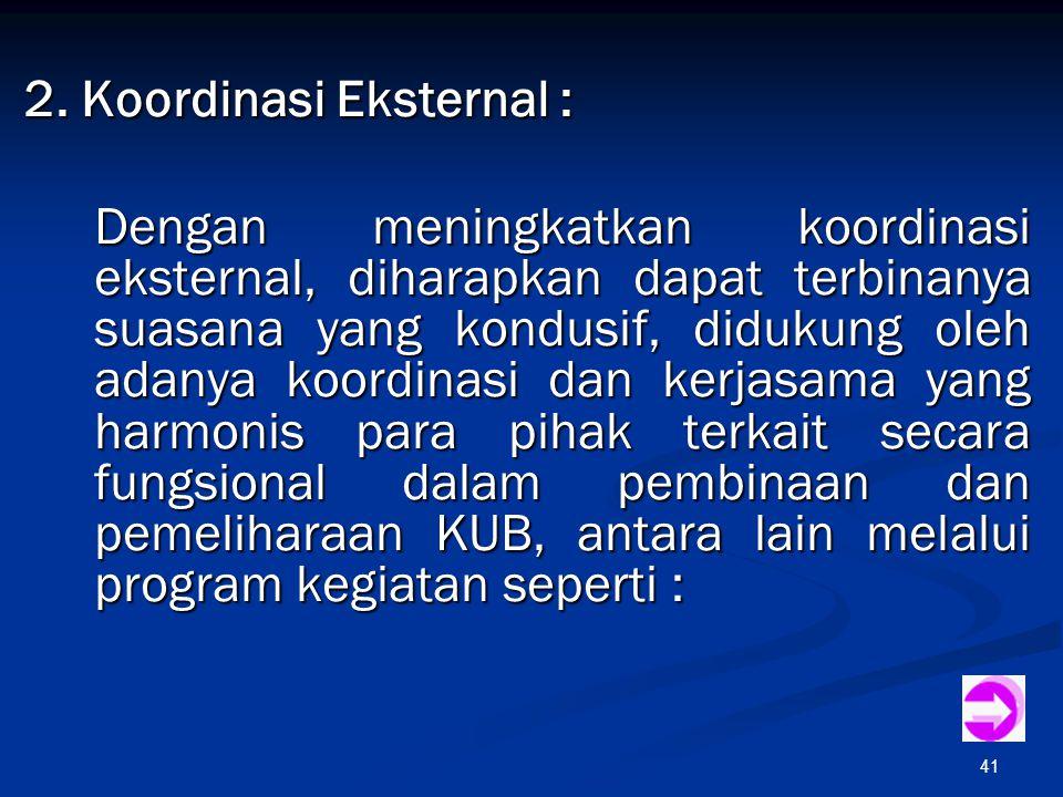 2. Koordinasi Eksternal :