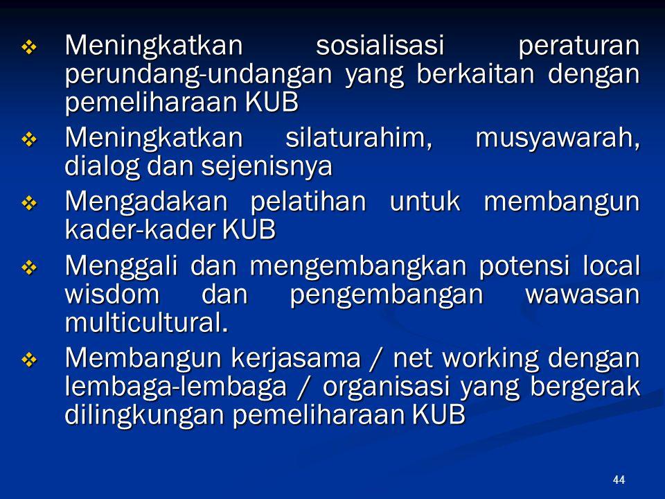 Meningkatkan sosialisasi peraturan perundang-undangan yang berkaitan dengan pemeliharaan KUB
