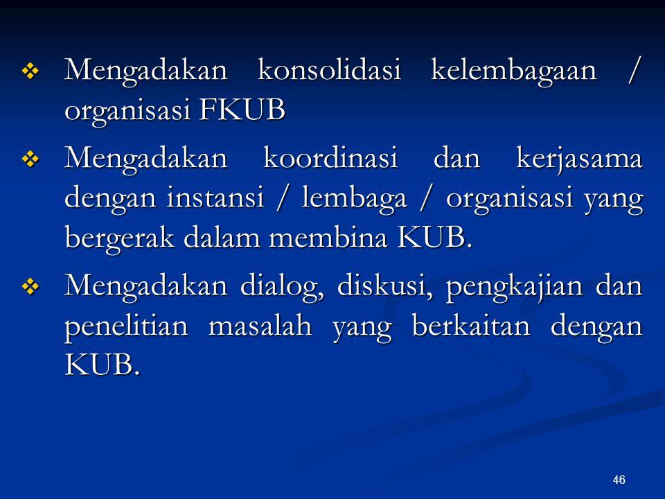 Mengadakan konsolidasi kelembagaan / organisasi FKUB